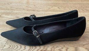 Jil Sander Ballerines à lacets noir-argenté cuir