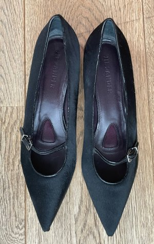 Jil Sander Strappy Ballerinas black-silver-colored leather