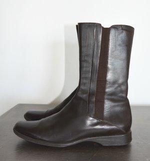 Jil Sander Slip-on Booties dark brown leather