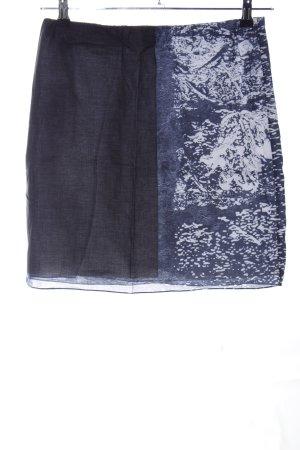 Jil Sander Stretchrock blau-weiß abstraktes Muster Casual-Look