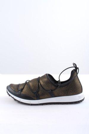 Jimmy Choo Absatz Sneaker schwarz-goldfarben Webmuster Glanz-Optik