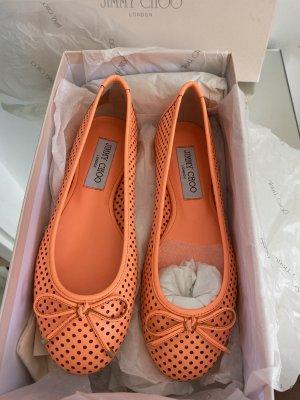 Jimmy Choo Classic Ballet Flats neon orange leather