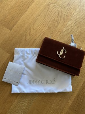 Jimmy Choo Clutch brown red-russet velvet
