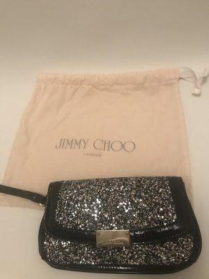 Jimmy Choo Clutch silber schwarz Lack Glitzer Abendtasche