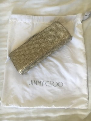 Jimmy Choo Gold Silber Twill Tube Clutch Abendtasche