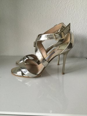 Jimmy Choo Strapped Sandals sand brown-gold-colored leather
