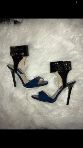 Jimmy Choo high Heels Pumps Sandalen blau schwarz Lack Leder