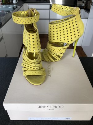 JIMMY CHOO High Heels Sandalen in gelbemvelourleder / Gr. 38,5