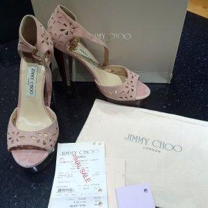 Jimmy Choo Highheels Sandalen nude rose Valous Leder 38