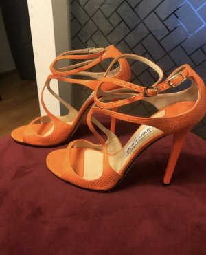 Jimmy Choo Lang Sandals Python Neon Orange 39