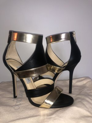 JIMMY CHOO Leather Sandals with Gold Details