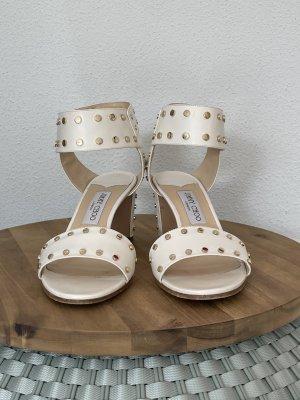 Jimmy Choo Sandały japonki w kolorze białej wełny Skóra