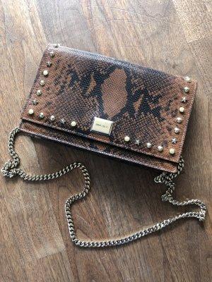 Jimmy Choo Lizzie Snake Print Leather Clutch braun