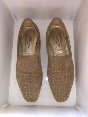 Jimmy Choo Moccasins beige-gold-colored leather
