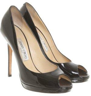Jimmy Choo patent leather pumps/peeptoe schuhe in schwarz