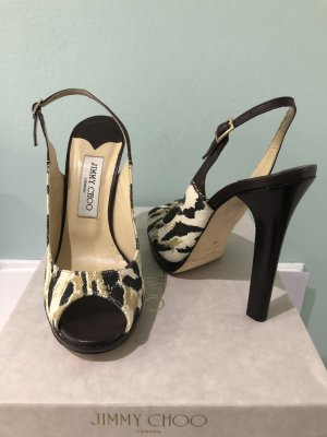 Jimmy Choo Platform Sandals dark brown-oatmeal