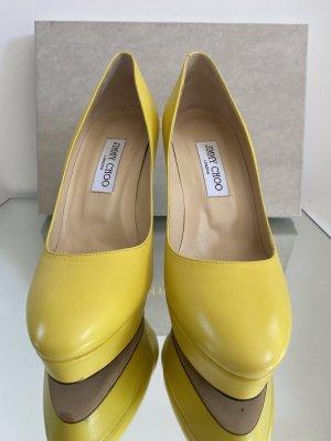 Jimmy Choo Platform Pumps yellow leather