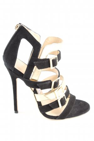 Jimmy Choo Riemchen-Sandaletten schwarz-goldfarben Elegant