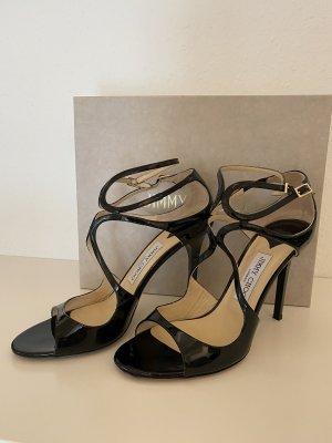Jimmy Choo Sandaletten Stilettos Lang Pat schwarz lack Größe 40