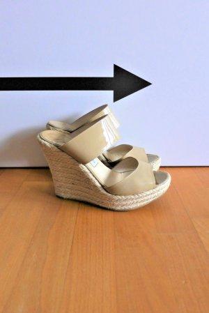 Jimmy Choo Schuhe Wedges Sandale Absatz Highheels beige nude Bast Gr. 40
