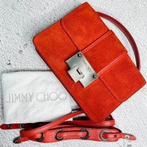 Jimmy Choo Tasche Mini Rebel rot Suede Veloursleder Handtasche Crossbody Bag red