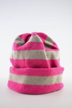 Beanie roze-licht beige Wol