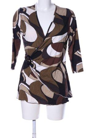 Joachim Bosse V-Ausschnitt-Pullover braun-weiß abstraktes Muster Casual-Look