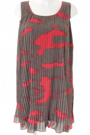 Joana Danciu Abendkleid graubraun-rot abstraktes Muster Casual-Look