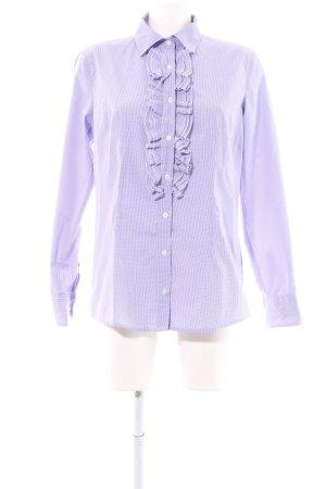 Jobis Ruche blouse lila-wit geruite print zakelijke stijl