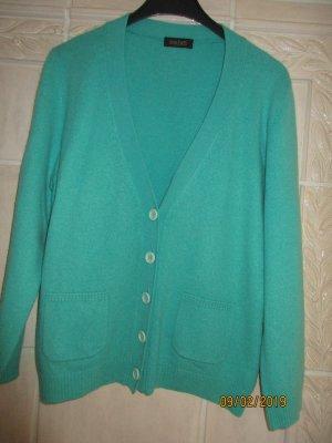 Joe Taft Knitted Cardigan turquoise cashmere