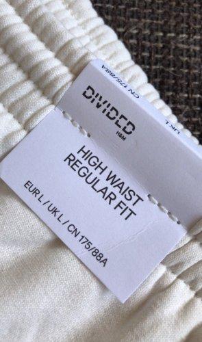 H&M Pantalon taille haute blanc cassé-blanc