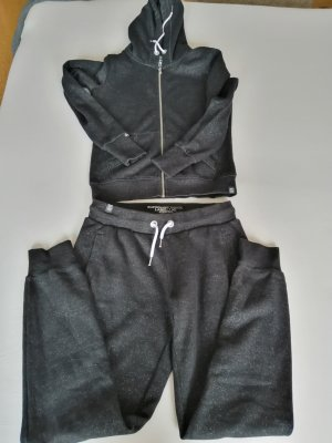 Superdry Chándal negro-color plata