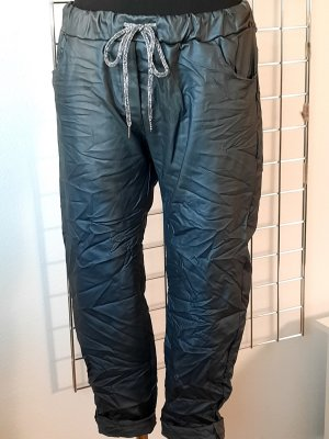 Made in Italy Pantalon en cuir gris anthracite