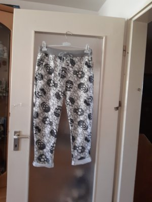 Made in Italy Pantalon boyfriend blanc-noir coton
