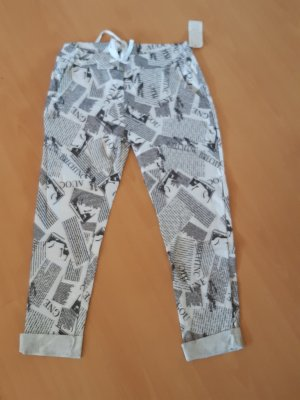 Made in Italy Pantalon boyfriend blanc-noir