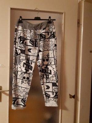 Made in Italy Pantalone boyfriend bianco-nero Cotone