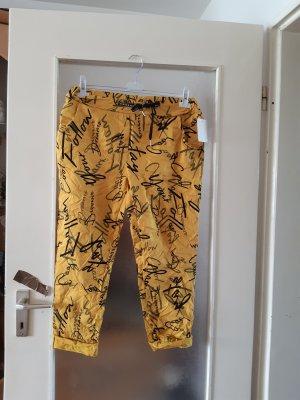 Made in Italy Spodnie typu boyfriend ciemny żółty-czarny