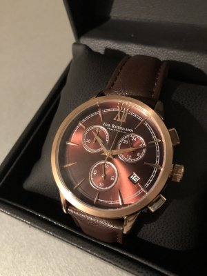 Watch With Leather Strap rose-gold-coloured-cognac-coloured