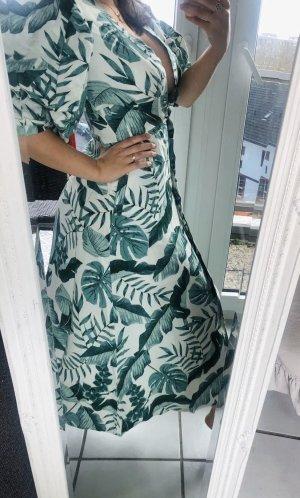 Johanna Ortiz Leinen S 38 SommerKleid ecru wollweiß grün Palmen lang Maxi