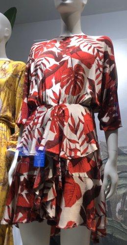 Johanna Ortiz Midi Kleidchen beige rot Palmen Orchidee Volants Babydoll S/M offener Rücken tailliert