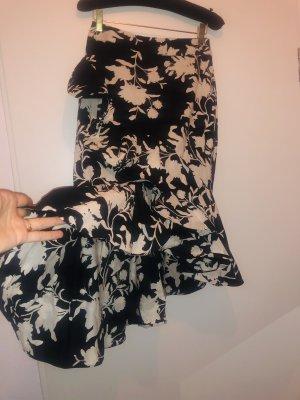 H&M Premium Falda tulipán negro-blanco Algodón