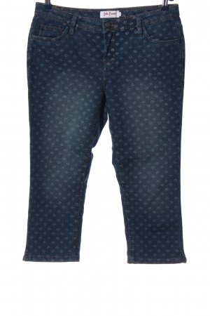 John Baner 3/4 Length Jeans blue-white abstract pattern casual look