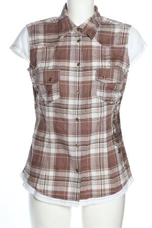 John Baner Blusa-camisa marrón-blanco estampado a cuadros look casual