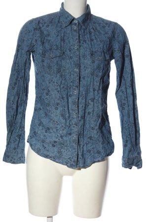 John Baner Blusa-camisa azul-negro estampado repetido sobre toda la superficie