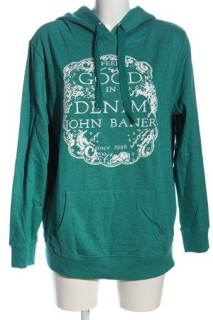 John Baner Sweat à capuche turquoise-blanc moucheté style décontracté