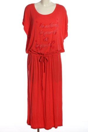 John Baner Kurzarmkleid rot Schriftzug gedruckt Casual-Look