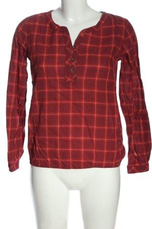 John Baner Langarm-Bluse rot-weiß Karomuster Casual-Look