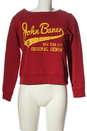 John Baner Felpa rosso-giallo pallido Stampa a tema stile casual