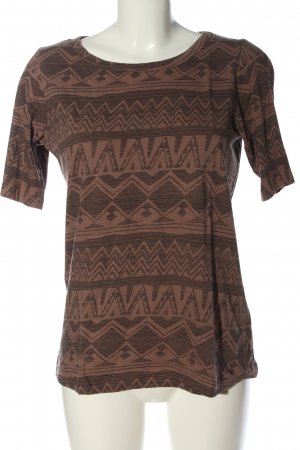 John Baner T-shirt marrone stampa integrale stile casual