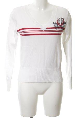 John Baner V-Ausschnitt-Pullover weiß-rot Schriftzug gedruckt Casual-Look